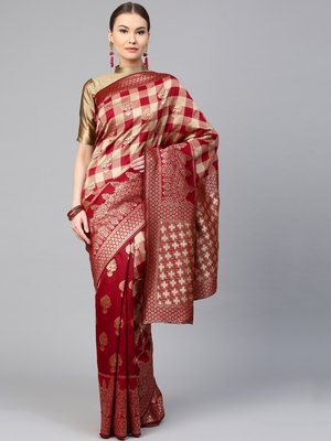 Inddus Maroon Silk Blend Woven Saree With Blouse