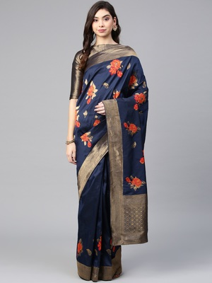 Inddus Navy Blue Silk Blend Woven Saree With Blouse