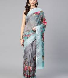 Inddus Grey & Green Linen Blend Printed Saree with Blouse