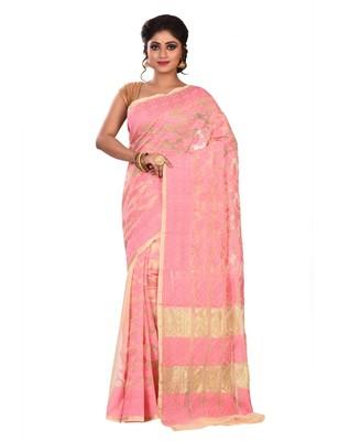 Light pink plain cotton silk saree without blouse