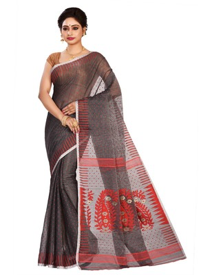Black plain cotton silk saree without blouse