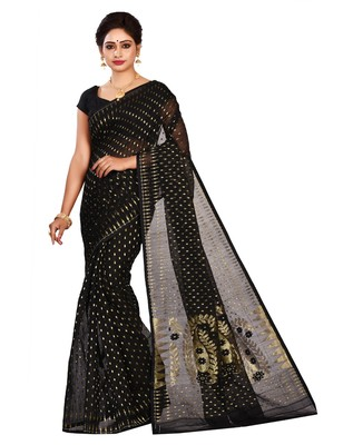 Black plain cotton silk saree without blouse