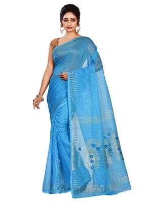 Sky blue plain cotton silk saree without blouse
