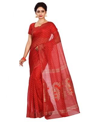 Red plain cotton silk saree without blouse