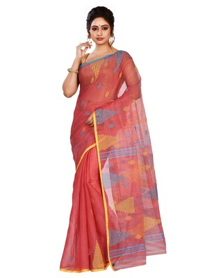 Red plain cotton saree without blouse