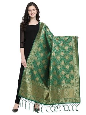 Green Poly Silk Woven Women Dupatta