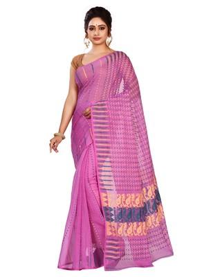 Purple plain cotton silk saree without blouse