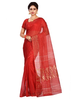 Red plain cotton silk saree without blouse