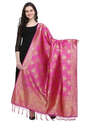 Pink Poly Silk Woven Women Dupatta