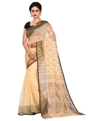 Off white plain cotton silk saree without blouse