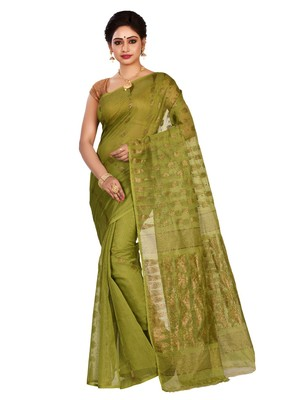 Green plain cotton silk saree without blouse