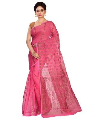 Pink plain cotton silk saree without blouse