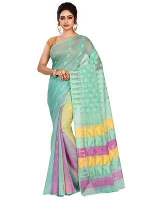 Multicolor plain cotton silk saree without blouse