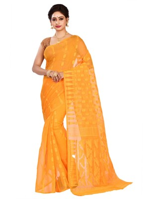 Yellow plain cotton silk saree without blouse