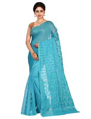 Sky blue plain cotton silk saree without blouse
