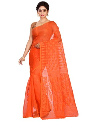 Orange plain cotton silk saree without blouse