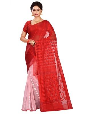 Multicolor plain cotton silk saree without blouse