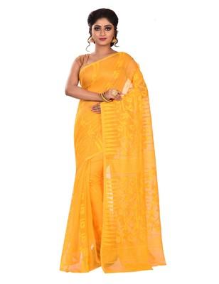 Yellow plain cotton silk saree without blouse