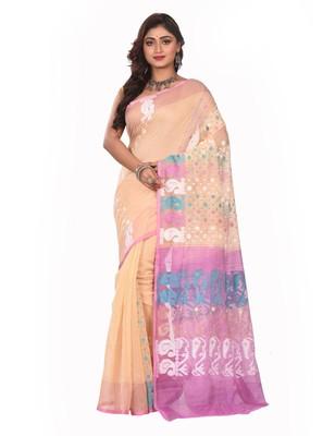Beige plain cotton silk saree without blouse