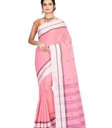 Pink plain cotton saree without blouse