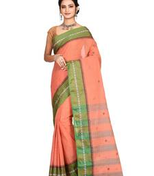 Red plain cotton saree without blouse