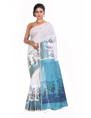 Multicolor printed cotton saree without blouse