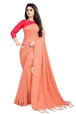 Peach woven art silk sarees saree with blouse