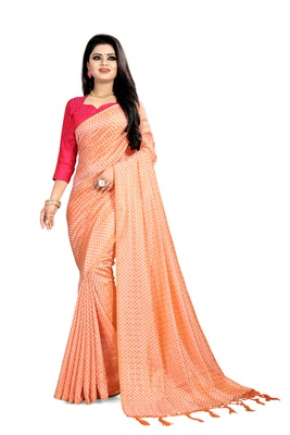 Orange woven art silk sarees saree with blouse