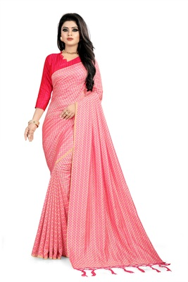 Light rani pink woven art silk sarees saree with blouse