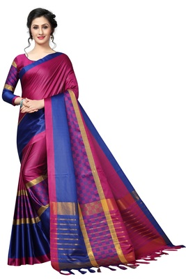 Pink printed polycotton saree with blouse