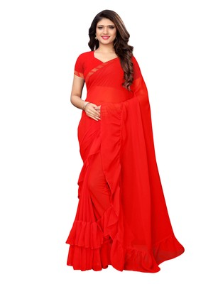 Red woven ruffle georgette saree with blouse
