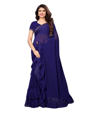 Navy blue woven ruffle georgette saree with blouse