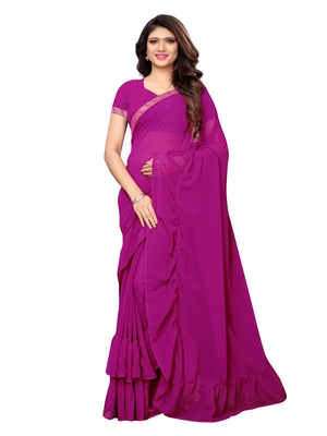 Purple woven ruffle georgette saree with blouse