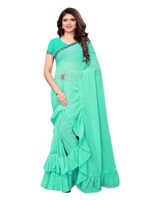 Turquoise woven ruffle georgette saree with blouse