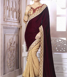Buy Brown  -  Cream embroidered velvet saree with blouse velvet-saree online