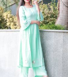 Light blue solid rayon stitched salwar suits