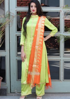 Light green solid satin stitched salwar with dupatta
