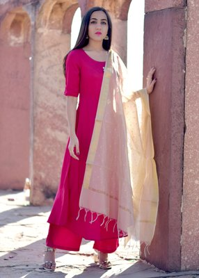 Pink solid rayon stitched salwar with dupatta
