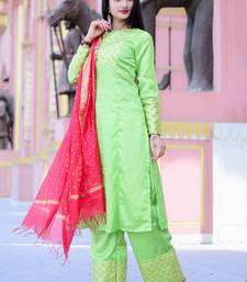 3bc47b433c7 Light green solid santoon stitched salwar with dupatta