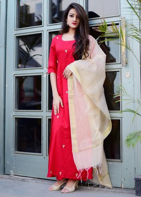 Red solid rayon stitched salwar with dupatta