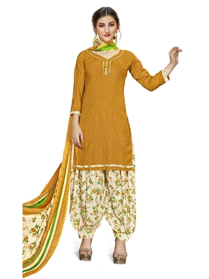 Yellow Printed Cotton Unstitched Salwar With Dupatta