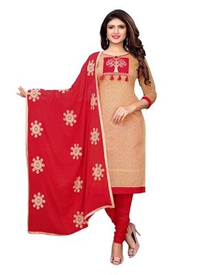 Beige Printed Chanderi Unstitched Salwar With Dupatta