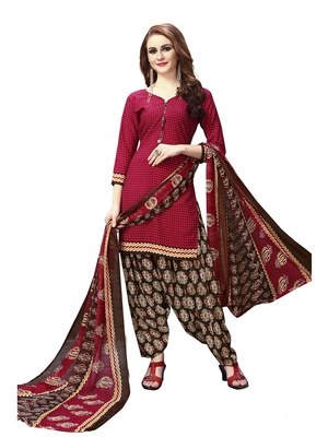 Maroon  Printed Crepe Unstitched Salwar With Dupatta