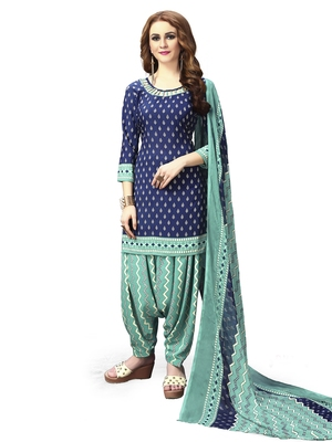 Blue printed crepe unstitched salwar with dupatta