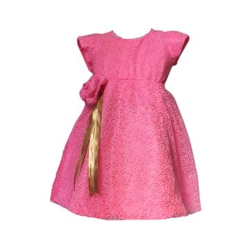 Pink plain net kids girl frock
