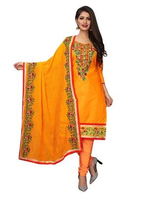 Orange Thread Embroidery Cotton Unstitched Salwar With Dupatta