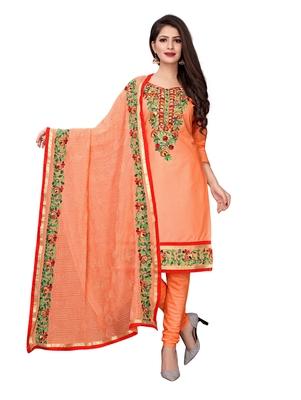 Peach Thread Embroidery Chanderi Unstitched Salwar With Dupatta