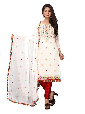 White Thread Embroidery Chanderi Unstitched Kameez With Dupatta