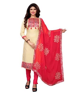 Cream Applique Cotton Unstitched Salwar With Dupatta
