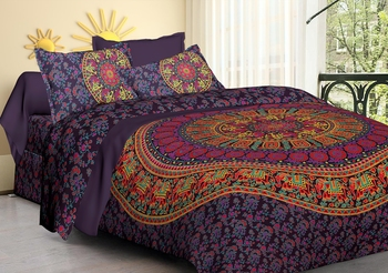 Handmade 100% Cotton Mandala Hand Screen Printed Bedding Bedspread With 2 Pillow Queen Size Modern Bedsheet 90X108